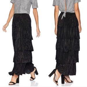 bb dakota // black tiered pleated maxi skirt